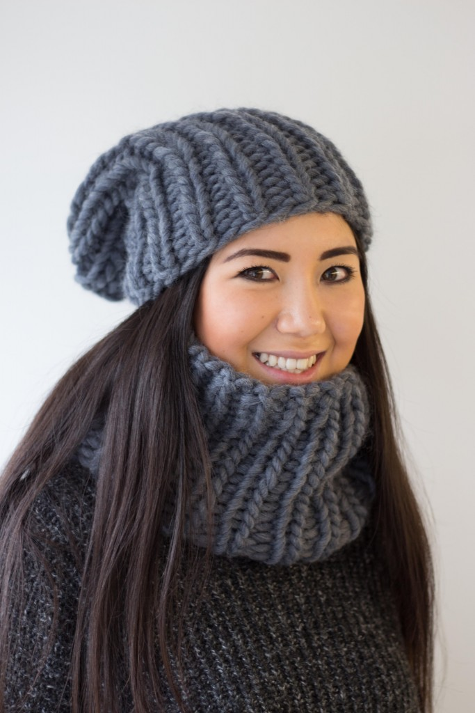 Handmade chunky knitted beanie hat - Shortrounds